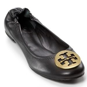 Tory Burch Reva Black Leather Gold Emblem Flats 9